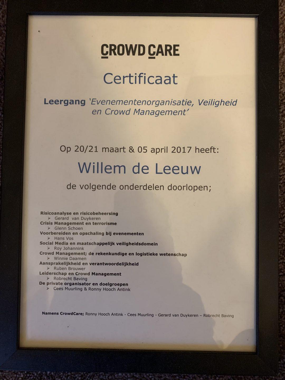 Certificaat Willem de Leeuw Veiligheid Crowd management